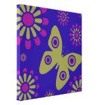 Flores coloridas y arte de la lona de la mariposa impresión de lienzo