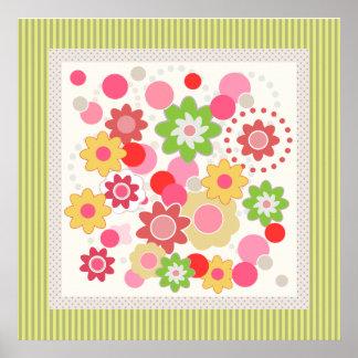 Flores coloridas y poster cuadrado de las rayas