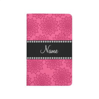 Flores complejas rosadas conocidas personalizadas cuadernos