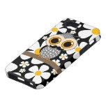 flores con el búho del bigote iPhone 5 Case-Mate fundas