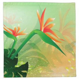 Flores con el fondo suave servilleta imprimida