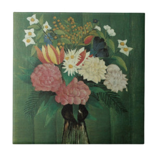 Flores con la hiedra de Henri Rousseau, vintage Tejas Ceramicas