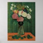 Flores con la hiedra de Henri Rousseau, vintage Poster