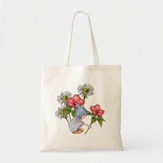 Flores con poco chica del gnomo, margaritas, arte