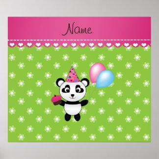 Flores conocidas de encargo del verde de la panda poster