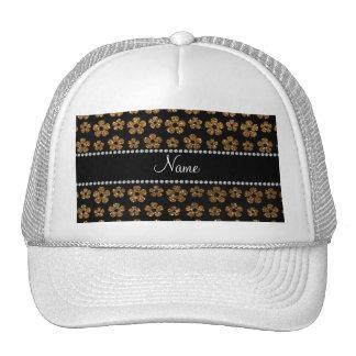 Flores conocidas personalizadas del brillo del oro gorro