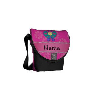 Flores conocidas personalizadas del rosa de la mar bolsa messenger