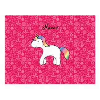 Flores conocidas personalizadas del rosa del unico tarjetas postales