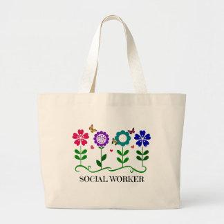 Flores, corazones, y mariposas del asistente bolsa tela grande
