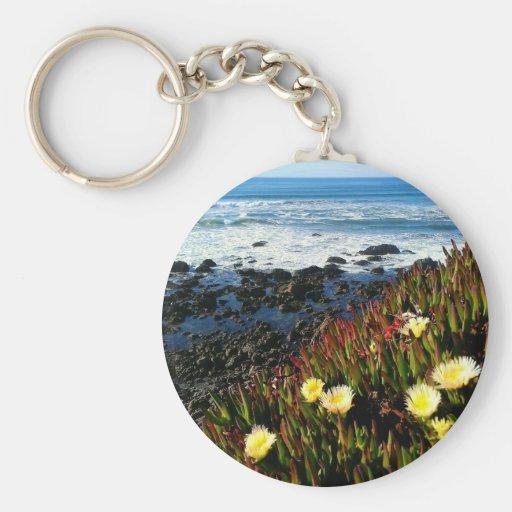 Flores costeras llavero redondo tipo pin