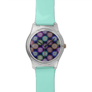Flores cristalinas de cristal sopladas mano del reloj
