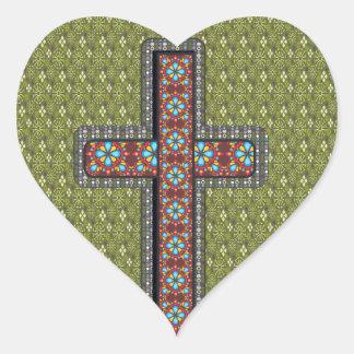 Flores cristianas de la cruz del verde del caso pegatina en forma de corazón