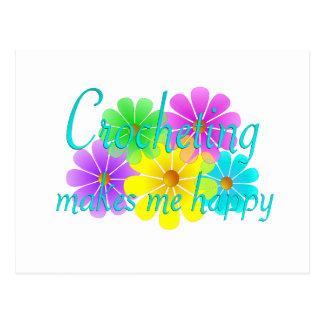 Flores Crocheting de la felicidad Postal