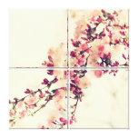 Flores de almendra Vintage 4 divisores lienzo repr Lona Estirada Galerías