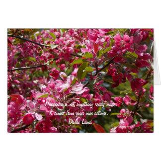 Flores de Apple de cangrejo con la cita de Dalai Tarjeta De Felicitación