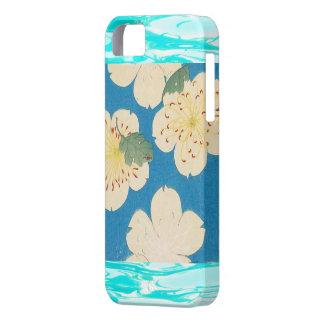 Flores de Apple del japonés del vintage en azul iPhone 5 Case-Mate Carcasa