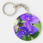 Flores de araña púrpuras llavero personalizado
