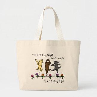 Flores de baile felices del dibujo animado del trí bolsa tela grande