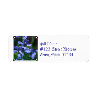 Flores de Bell azules bonitas Etiqueta De Remitente