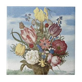 Flores de Bosschaert Azulejo Cuadrado Pequeño
