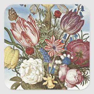 Flores de Bosschaert Pegatina Cuadrada