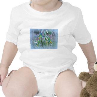 Flores de Bromeliad en azul Camisetas