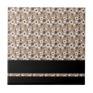 Flores de Brown con las rayas negras Tejas Ceramicas