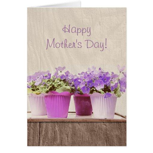 Flores de campana violetas delicadas - el día de m tarjeta