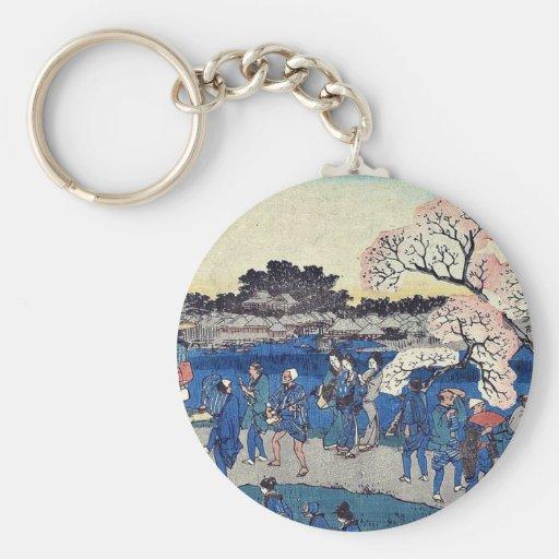Flores de cerezo a lo largo del río por Andō, Hiro Llavero