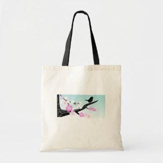 Flores de cerezo adaptables del pájaro del gorrión bolsa tela barata