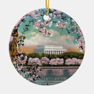Flores de cerezo adorno navideño redondo de cerámica