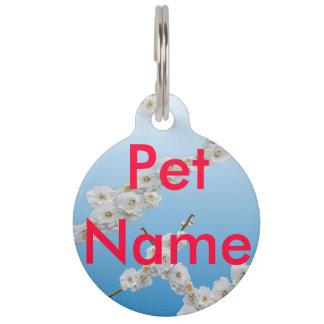 Flores de cerezo blancas placas para mascotas