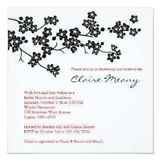 """Flores de cerezo blancos y negros invitación 5.25"""" x 5.25"""""""