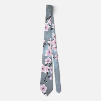 Flores de cerezo brillantes azules rosadas oscuras corbata personalizada