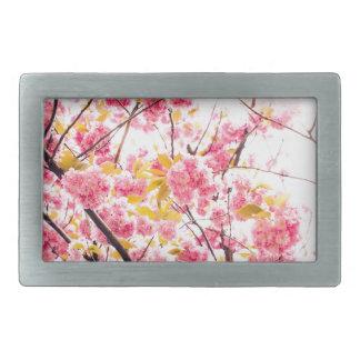 Flores de cerezo brillantes Sakura del rosa Hebillas De Cinturón Rectangulares