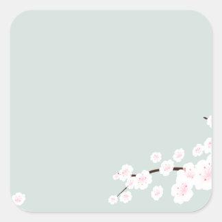 Flores de cerezo con el fondo de la verde menta colcomania cuadrada