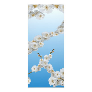 "Flores de cerezo de Corea blancas Invitación 4"" X 9.25"""