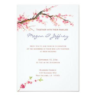 """Flores de cerezo de la acuarela en rosa y crema invitación 5"""" x 7"""""""