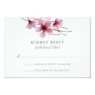 """Flores de cerezo de la acuarela que casan RSVP Invitación 3.5"""" X 5"""""""