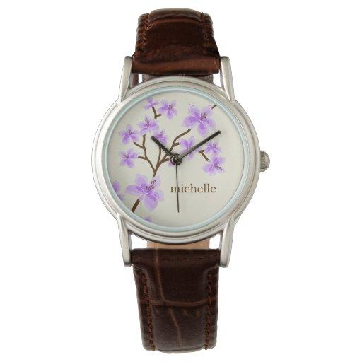 Flores de cerezo de la lavanda relojes de mano