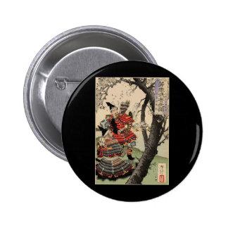 Flores de cerezo de la visión del samurai circa 18 pin redondo 5 cm
