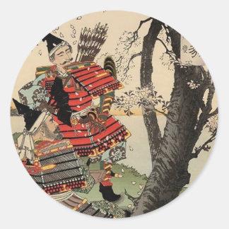 Flores de cerezo de la visión del samurai circa pegatina redonda