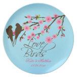 Flores de cerezo de los pájaros del amor personali platos de comidas