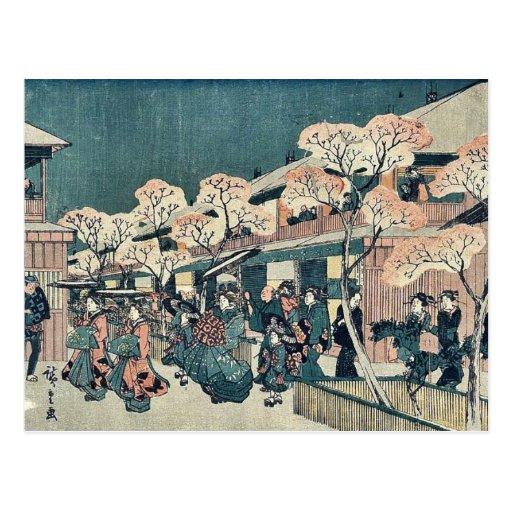 Flores de cerezo de Yoshiwara por Andō, Hiroshige  Postales