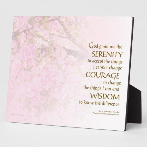 Flores de cerezo del rezo de la serenidad placas con fotos