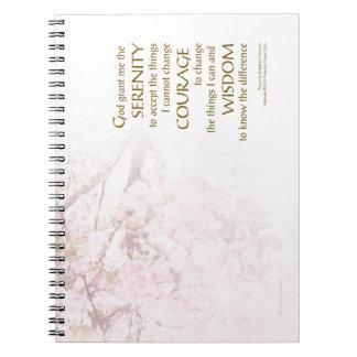 Flores de cerezo del rezo de la serenidad spiral notebooks