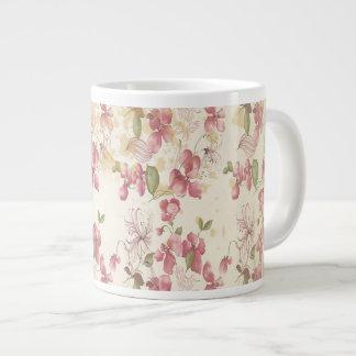 Flores de cerezo del vintage taza de café grande