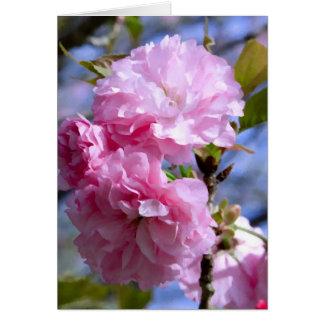 Flores de cerezo dobles tarjeta de felicitación