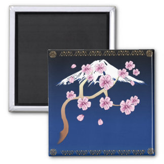 Flores de cerezo e imán del Mt Fuji