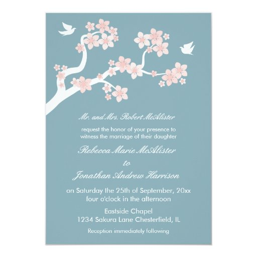 "Flores de cerezo en azul invitación 5"" x 7"""